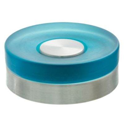 Jabonera redonda de aluminio celeste