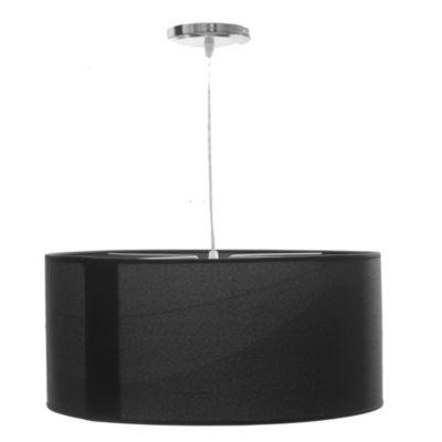 Lámpara de techo colgante una luz redonda lisa con difusor negra E27