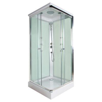 Cabina de ducha cuadrada 6 jets verde for Llaves para duchas sodimac