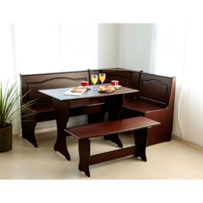 Set desayunador mesa 2 bancos chocolate for Mesa rinconera para cocina
