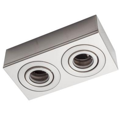 Plafón de techo dos luces cardánico acero gu10