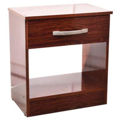 Mesa de luz 1 cajón ecopack caoba