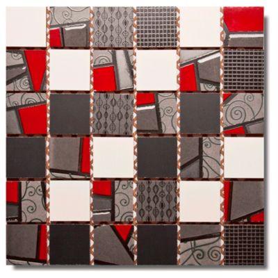 Malla mosaico random rojo
