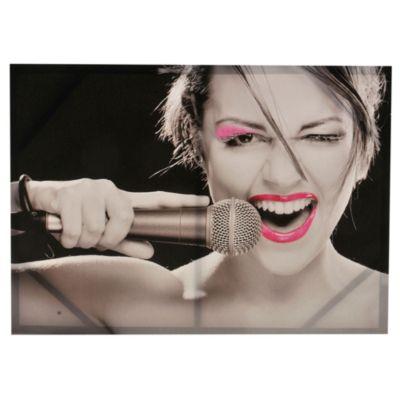 Canvas mujer micrófono 50 x 70 x 2,5 cm