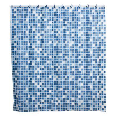 Cortina de baño con diseño venecita azul 178 x 180 cm