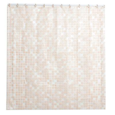 Cortina de baño con diseño venecita marrón claro 178 x 180 cm
