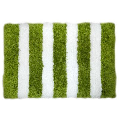 Alfombra shaggy rayas verde 60 x 90 cm