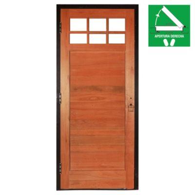 Puerta de madera maciza derecha para exterior n...