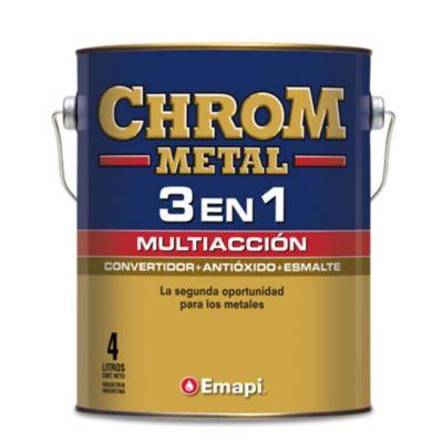 Esmalte chrom metal 3 en 1 negro 1 l