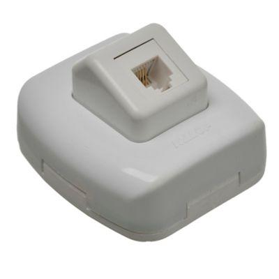 Caja superficie toma telefónico americano blanco