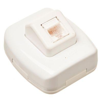 Caja superficie toma computación rj45 cat 5 blanca