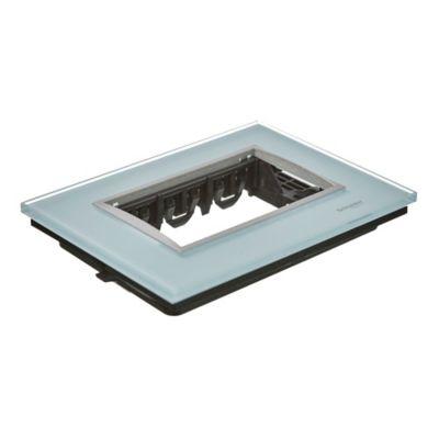 Frente + bastidor vidrio 3 módulos black