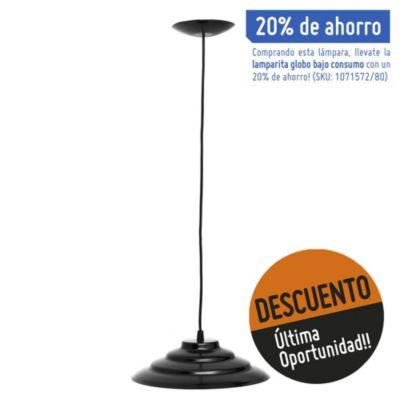 Lámpara de techo colgante 27 cm una luz eco negro e27