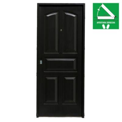 Puerta de chapa simple 5 tableros 80 x 200 cm derecha