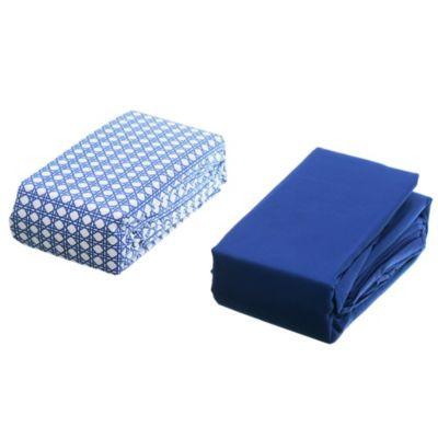 Juego de 2 sábanas 1,5 plazas de microfibra azul