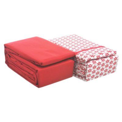 Juego de 2 sábanas 1,5 plazas de microfibra rojo