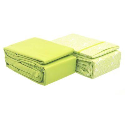 Juego de 2 sábanas 1,5 plazas de microfibra verde