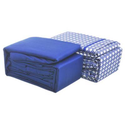 Juego de 2 sábanas 2,5 plazas de microfibra azul