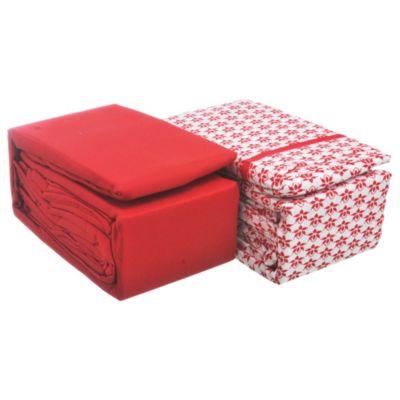 Juego de 2 sábanas 2,5 plazas de microfibra rojo