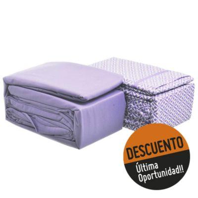 Juego de 2 sábanas 2,5 plazas de microfibra violeta