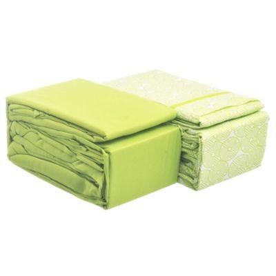 Juego de 2 sábanas 2,5 plazas de microfibra verde