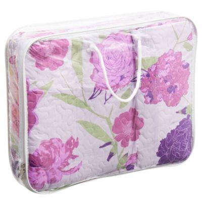 Cobertor y 2 fundas 2,5 plazas flor violeta