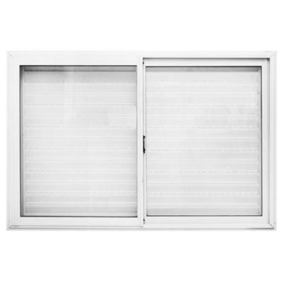 Ventana de aluminio blanca con celosía 150 x 100 cm