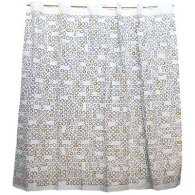 Cortina de baño de algodón y poliéster gris y beige
