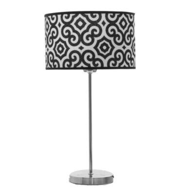 Lámpara de mesa una luz circular negro y blanca e27