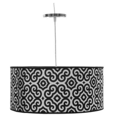 Lámpara de techo colgante una luz redonda circular negro y blanco e27