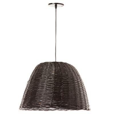 Lámpara de techo colgante una luz mimbre negro E27