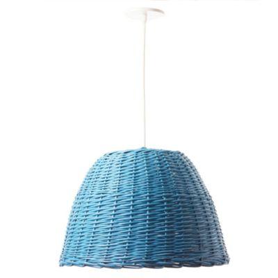 Lámpara de techo colgante una luz mimbre turquesa e27