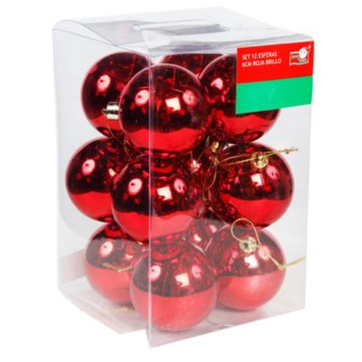 Set 12 esferas 6 cm rojo brillante