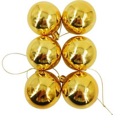 Set 12 esferas 6 cm dorado brillante