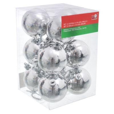 Set de 12 esferas 6 cm plata brillante