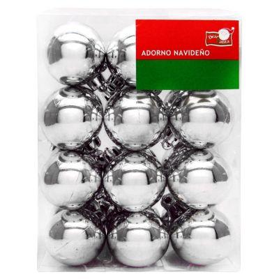 Set de 24 esferas 4 cm plata mate