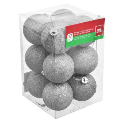 Set 12 esferas 6 cm plata con escarcha