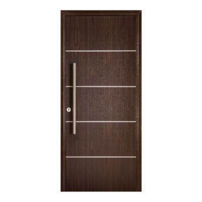 Puerta de madera maciza 80 x 200 cm derecha wengue