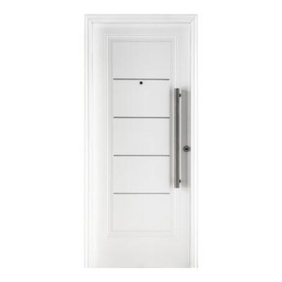 Puerta de acero 80 x 200 cm izquierda blanca