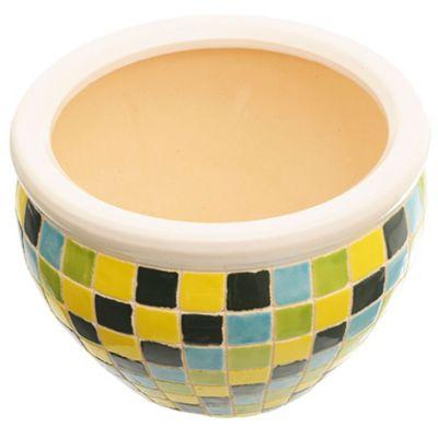 Maceta cuadrados amarillos, verdes y turquesa 23 x 16 cm