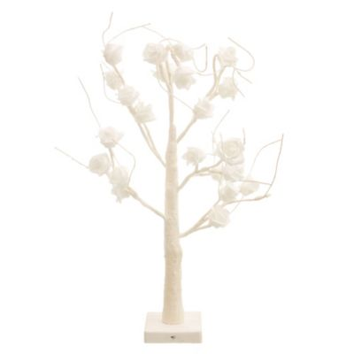 Árbol blanco con luz LED rosa 60 cm