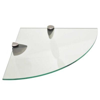 Repisa esquinera de vidrio 30,5 x 30 x 0,6 cm
