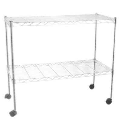 Estantería de metal cromada con 2 estantes