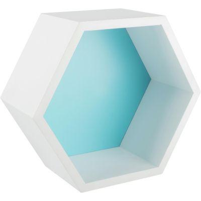 Estantería hexagonal 27 x 23, 4 x 12 cm turquesa