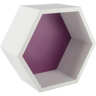 Estantería hexagonal 27 x 23, 4 x 12 cm violeta