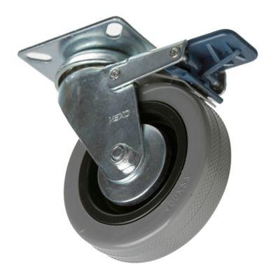 Rueda 80 mm con freno base giratoria
