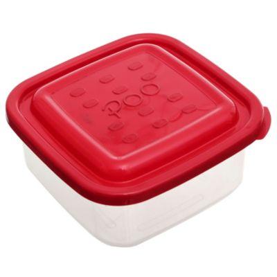 Contenedor hermético cuadrado con tapa rojo 1 l
