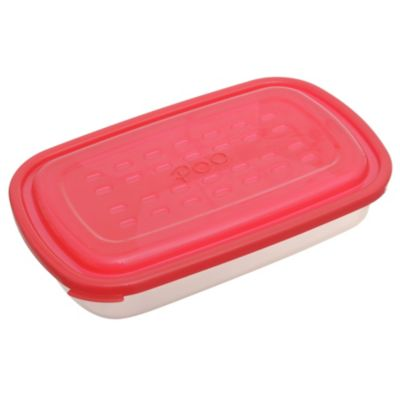 Contenedor hermético rectangular rojo mediano