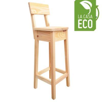 Taburete de madera de pino con respaldo