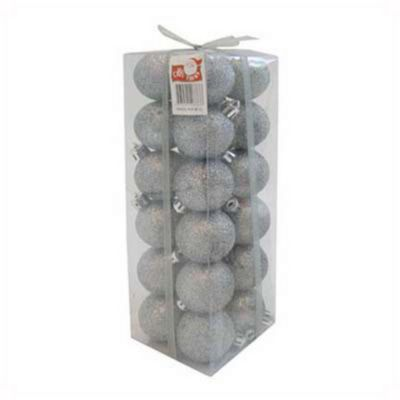 Set 24 esferas 4 cm plata glitter